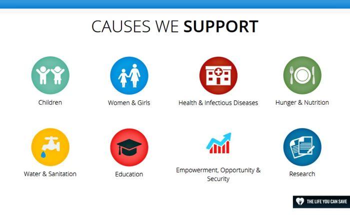 Da direita para a esquerda: Crianças | Mulheres e meninas | Saúde e doenças infecciosas | Fome e nutrição | Água e saneamento | Educação | Empoderamento, oportunidade e segurança | Investigação.